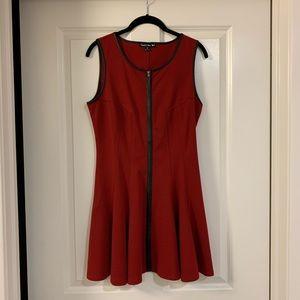 Red Double Zero Zipper Dress